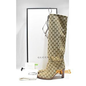 NIB GUCCI GG coated canvas over knee boots  EU37.5